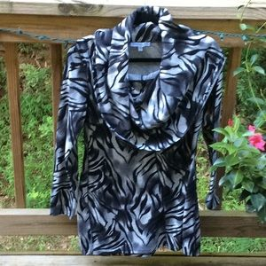 Anna Lee + Hope Awesome Animal Print Cowl Tunic M